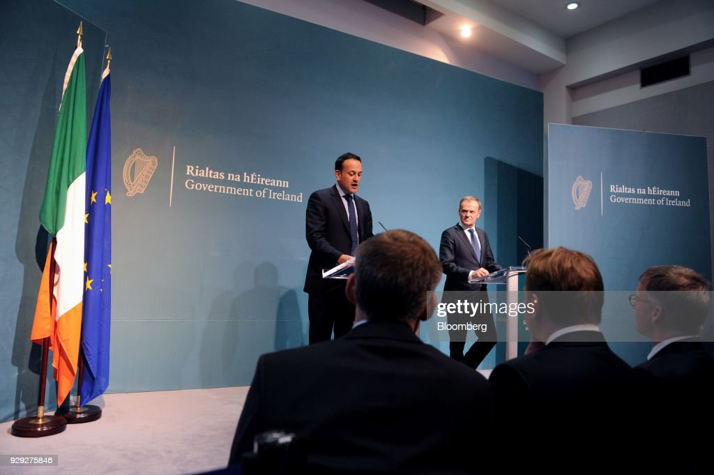 Leo Varadkar, Ireland's prime minister, left, speaks as Donald Tusk, president of the European Union (EU), looks on during a news conference at the Government Buildings in Dublin, Ireland, on Thursday, March 8, 2018. The U.K. is beginning to understand the strength of the European Unions negotiating power, Varadkar said. Photographer: Aidan Crawley/Bloomberg via Getty Images