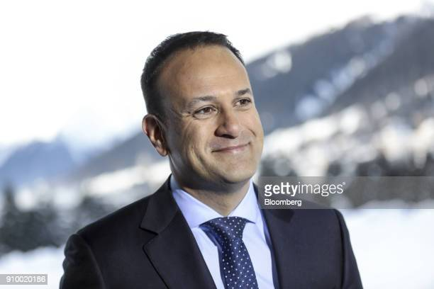 Leo Varadkar Ireland's prime minister looks on during a Bloomberg Television interview on day three of the World Economic Forum in Davos Switzerland...