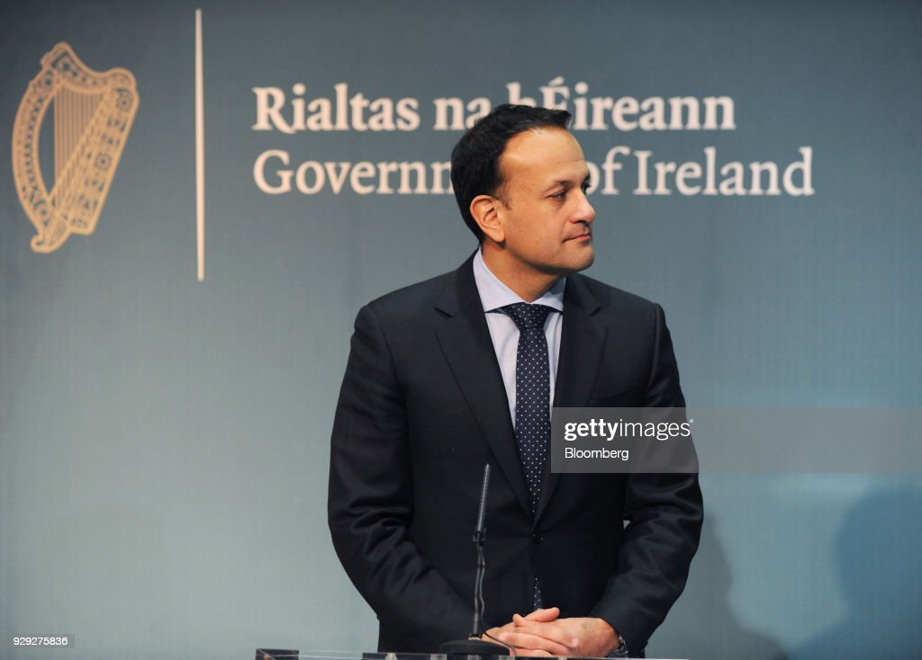 Leo Varadkar, Ireland's prime minister, looks on during a news conference at the Government Buildings in Dublin, Ireland, on Thursday, March 8, 2018. The U.K. is beginning to understand the strength of the European Unions negotiating power, Varadkar said. Photographer: Aidan Crawley/Bloomberg via Getty Images