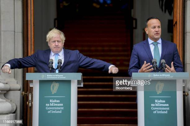 Leo Varadkar Ireland's prime minister right speaks during a joint news conference with Boris Johnson UK prime minister at Government Buildings in...
