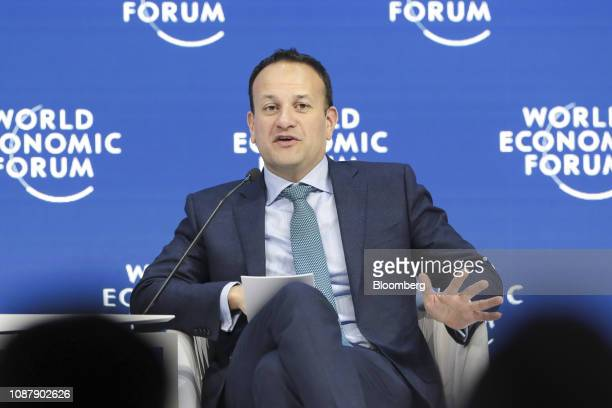 Leo Varadkar Ireland's prime minister speaks during a panel session on day three of the World Economic Forum in Davos Switzerland on Thursday Jan 24...