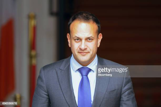 Leo Varadkar Ireland's prime minister waits to greet Michelle O'Neill leader of Sinn Fein at the Government Buildings in Dublin Ireland on Friday...