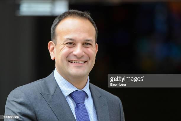 Leo Varadkar Ireland's prime minister waits to greet Michelle O'Neill leader of Sinn Fein at the Government Buildings in Dublin Ireland on Friday...