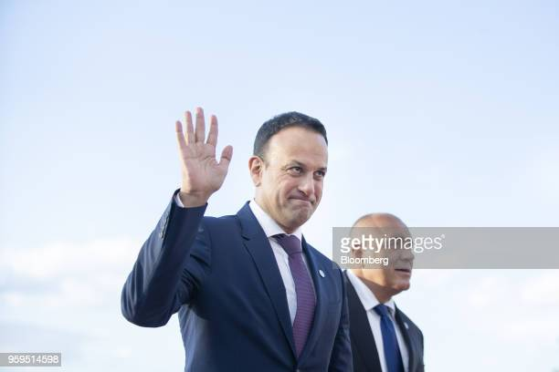 Leo Varadkar Irish Prime Minister left is greeted by Boyko Borissov Bulgaria's prime minister as he arrives for an informal dinner at Sofia Tech Park...