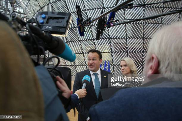 Leo Varadkar the Taoiseach, prime minister and head of government of Ireland at the Special European Council arrives at Forum Europa building and has...