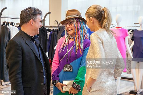 Leo Villareal Deb Windham and Yvonne Force Villareal socialize at Barneys New York on January 29 2016 in San Francisco California