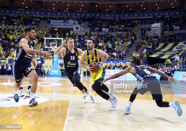 Leo Westermann #9 of Fenerbahce Beko Istanbul in action during the 2019/2020 Turkish Airlines EuroLeague Regular Season Round 15 match between...