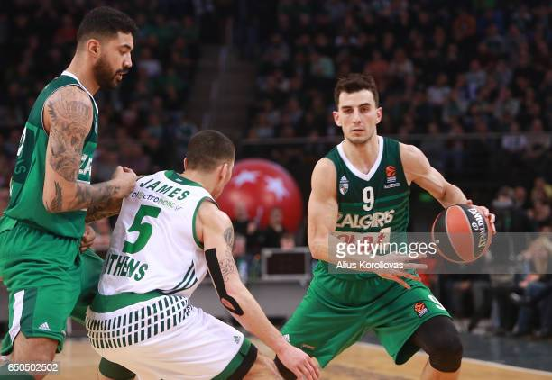 Leo Westermann #9 of Zalgiris Kaunas competes with Mike James #5 of Panathinaikos Superfoods Athens in action during the 2016/2017 Turkish Airlines...