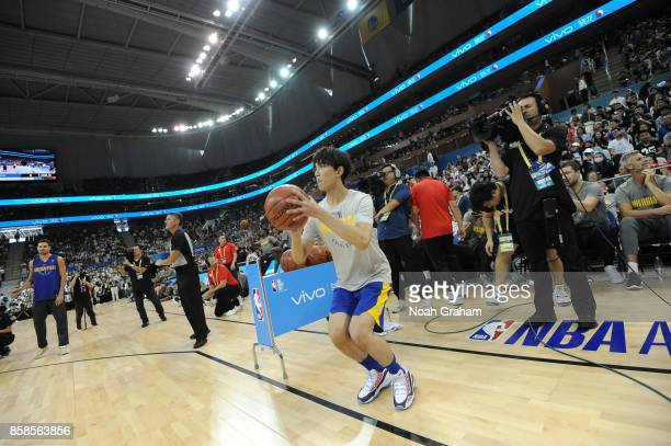 Leo Wu shoots the ball during fan day as part of 2017 NBA Global Games China on October 7 2017 at the Oriental Sports Center in Shanghai China NOTE...
