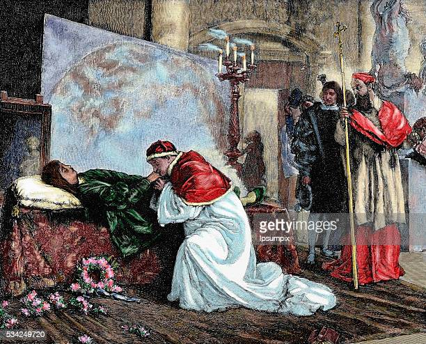 Leo X Florentine Pope named Giovanni de 'Medici Son of Lorenzo de 'Medici the Magnificent Pope Leo X in the bed of death of the painter Raphael...