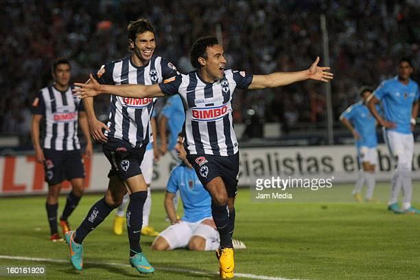 Leobardo Lopez and Jose Maria Basanta of Monterrey celebrate a goal against San Luis during a match between Monterrey v San Luis as part of the...