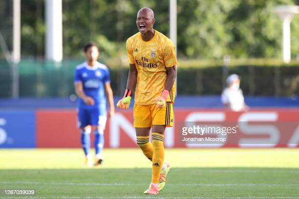 Leobrian Kokubo of Benfica celebrates after the side scored during the UEFA Youth League Quarter Final match between Dinamo Zagreb and Benfica at...