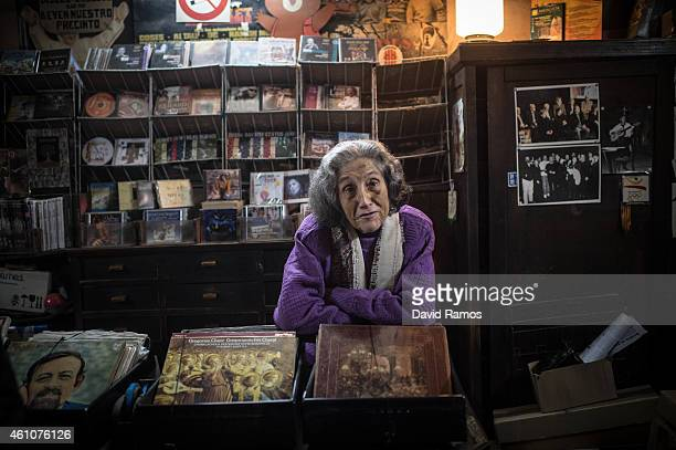 Leocadia Peris poses for a portrait at the casette tapes and LP department of Musical Emporium during his last day open to the public on January 5...