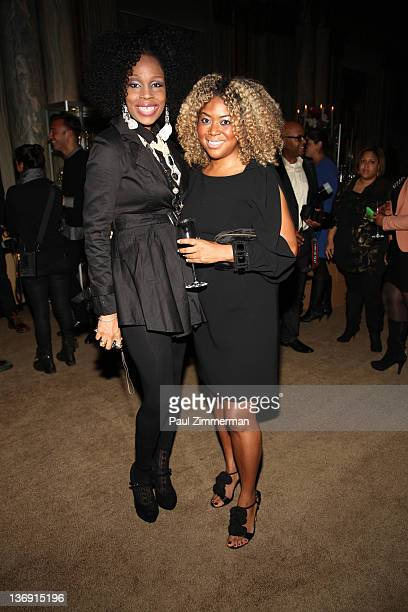 Leola Anifowoshe and Titi Branch coowner of Miss Jessie hair products attend the Target salute to Miko Branch and Titi Branch to celebrate being...