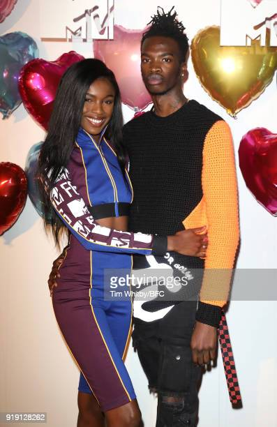 Leomie Anderson and guest attend the Wonderland Magazine x MTV Party during London Fashion Week February 2018 at The Ned Hotel on February 16 2018 in...