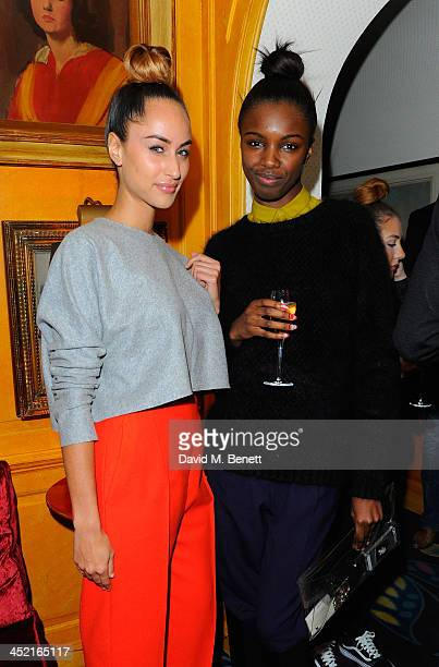 Leomie Anderson and guest attend Veuve Clicquot Style Party at Annabel's on November 26 2013 in London England