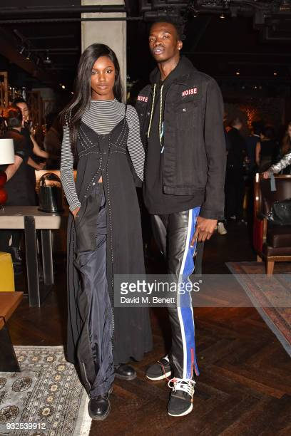 Leomie Anderson and Lancey Foux attend the launch of Wonderland magazine's Spring 2018 issue with Ellen Von Unwerth at MNKY HSE on March 15 2018 in...