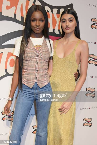 Leomie Anderson and Neelam Gill attend the TommyXZendaya collection launch event at the Tommy Hilfiger store on March 3 2019 in London England