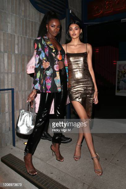 Leomie Anderson and Neelam Gill seen attending LOVE Magazine party at The Standard during LFW February 2020 on February 17 2020 in London England