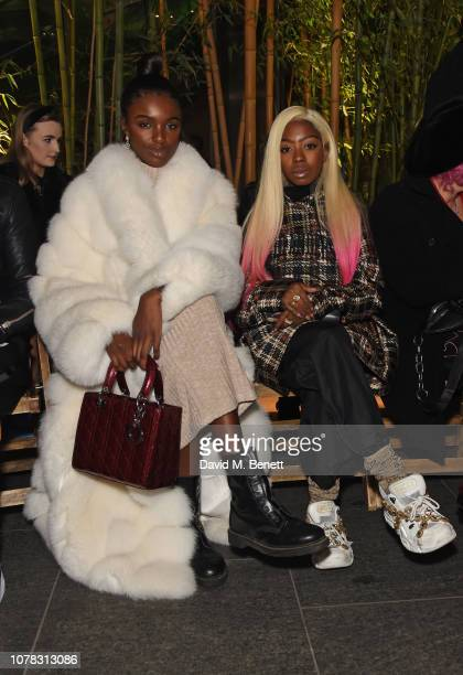 Leomie Anderson and Siobhan Bell attend the Astrid Andersen show during London Fashion Week Men's January 2019 at the Broadgate Plaza on January 6...