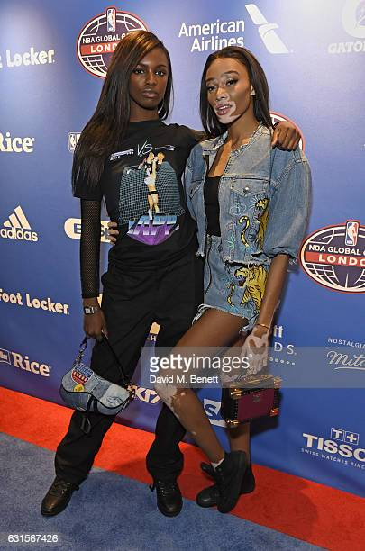 Leomie Anderson and Winnie Harlow attend the NBA Global Game London 2017 after party at The O2 Arena on January 12 2017 in London England