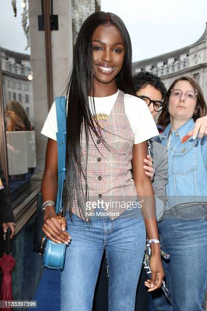 Leomie Anderson arrives at the Tommy Hilfiger Regents store for the Tommy Hilfiger X Zendaya event on March 03 2019 in London England