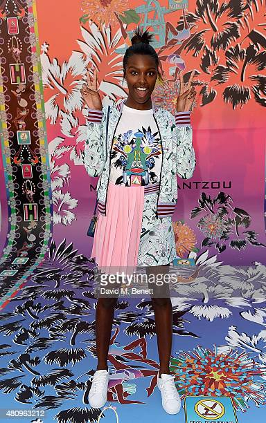 Leomie Anderson attends a rooftop party in Shoreditch London to celebrate the launch of Mary Katrantzou for adidas Originals Season 2 at Snap Studios...