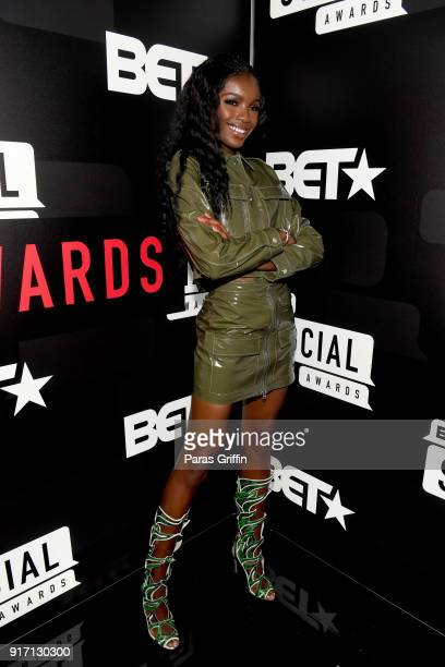 Leomie Anderson attends BET's Social Awards 2018 at Tyler Perry Studio on February 11 2018 in Atlanta Georgia