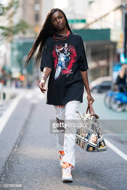 Leomie Anderson attends casting for the 2018 Victoria's Secret Fashion Show in Midtown on September 5, 2018 in New York City.