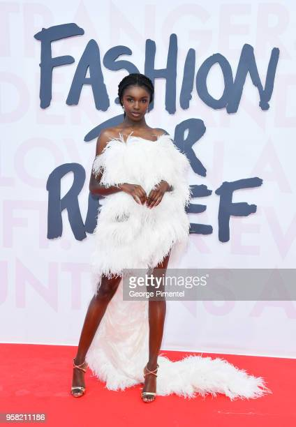 Leomie Anderson attends Fashion For Relief Cannes 2018 during the 71st annual Cannes Film Festival at Aeroport Cannes Mandelieu on May 13 2018 in...