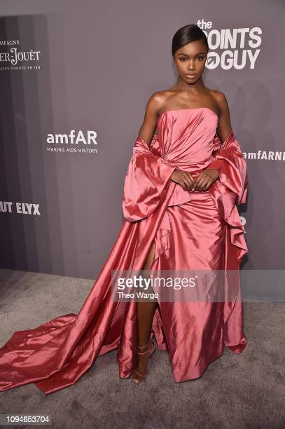 Leomie Anderson attends the amfAR New York Gala 2019 at Cipriani Wall Street on February 6 2019 in New York City