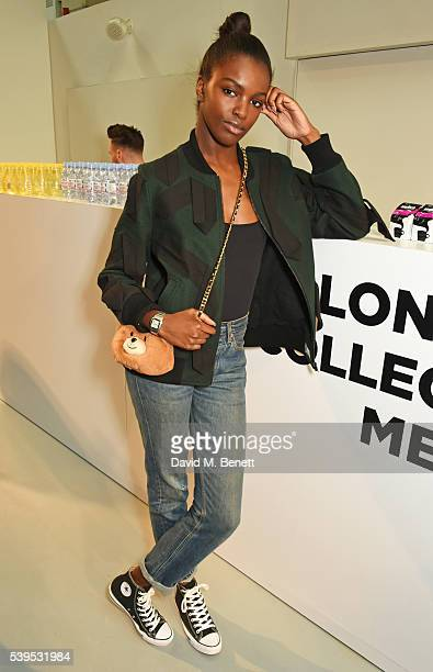 Leomie Anderson attends the Christopher Raeburn show during The London Collections Men SS17 at BFC Show Space on June 12, 2016 in London, England.