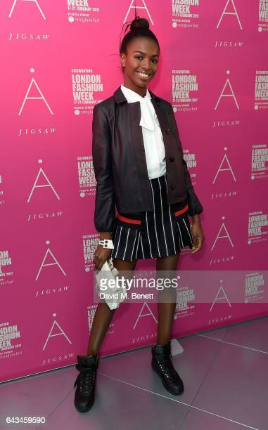 Leomie Anderson attends the Jigsaw London Fashion Week show on February 21 2017 in London England