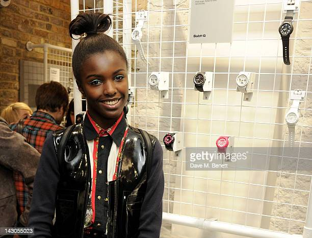 Leomie Anderson attends the launch of Casio London's Global Concept Store in Covent Garden Piazza on April 18 2012 in London England