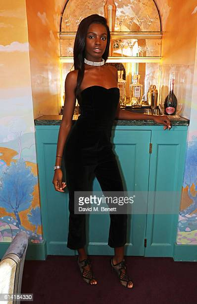 Leomie Anderson attends the launch of the Annabel's Smoking Jacket by Casely Hayford at Annabel's on October 12 2016 in London England