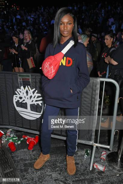 Leomie Anderson attends the launch of the Timberland Flyroam sneaker at The Scoop on September 22, 2017 in London, England.
