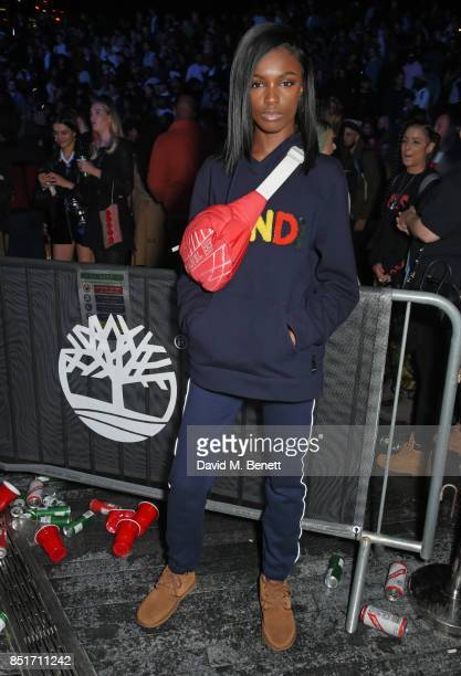 Leomie Anderson attends the launch of the Timberland Flyroam sneaker at The Scoop on September 22 2017 in London England