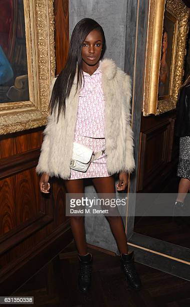 Leomie Anderson attends the London Fashion Week Men's closing night dinner hosted by Dylan Jones Jefferson Hack and the LFWM ambassadors at MNKY HSE...