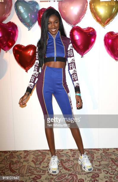 Leomie Anderson attends the Wonderland Magazine x MTV Party during London Fashion Week February 2018 at The Ned Hotel on February 16, 2018 in London,...
