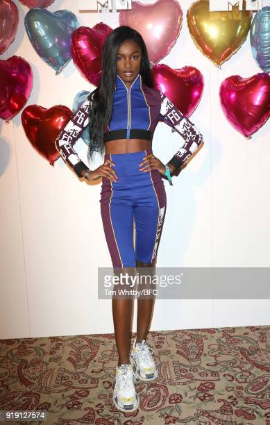 Leomie Anderson attends the Wonderland Magazine x MTV Party during London Fashion Week February 2018 at The Ned Hotel on February 16 2018 in London...
