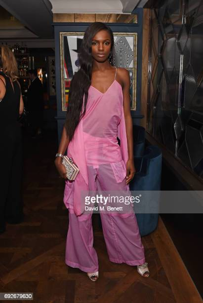 Leomie Anderson attends the Wonderland Summer Issue dinner hosted by Madison Beer at The Ivy Soho Brasserie on June 5 2017 in London England