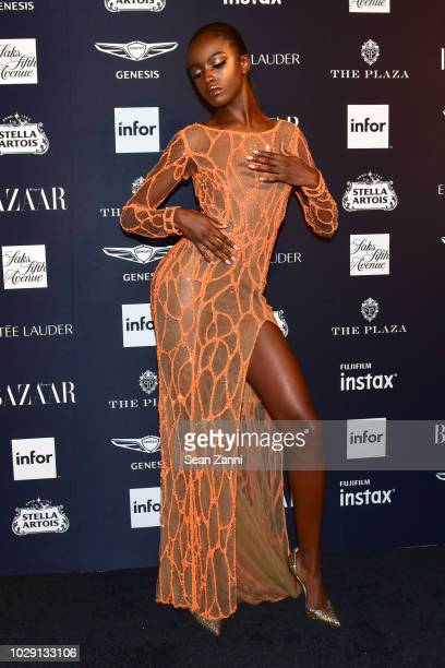 Leomie Anderson attends The Worldwide Editors Of Harper's Bazaar Celebrate ICONS by Carine Roitfeld presented by Infor Stella Artois FUJIFILM Estee...