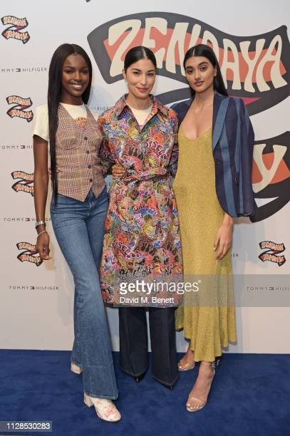 Leomie Anderson Caroline Issa and Neelam Gill attend the TommyXZendaya collection launch event at the Tommy Hilfiger store on March 3 2019 in London...
