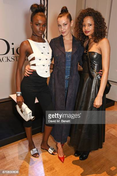 Leomie Anderson Dior spokesmodel Bella Hadid and Malaika Firth celebrate the launch of Bella's new Dior Pump 'N' Volume Mascara at Selfridges on...