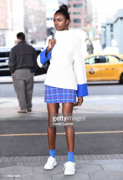 Leomie Anderson is seen wearing a Tory Burch outfit outside the Tory Burch show during New York Fashion Week Fall/Winter 2019 on February 10 2019 in...