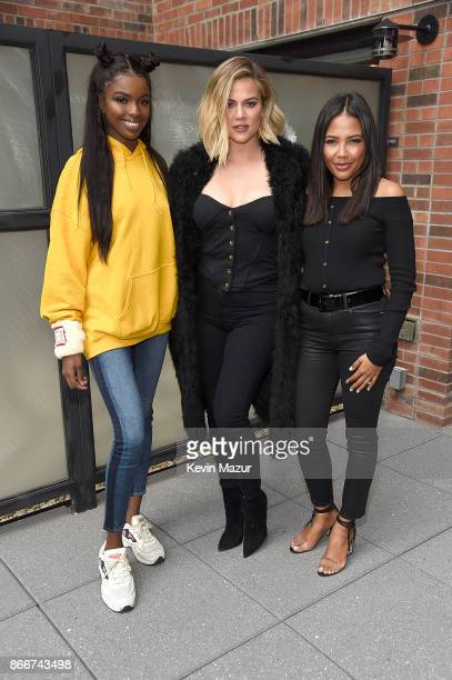 Leomie Anderson Khloe Kardashian and Emma Grede attend Good American press luncheon at Arlo Soho on October 26 2017 in New York City