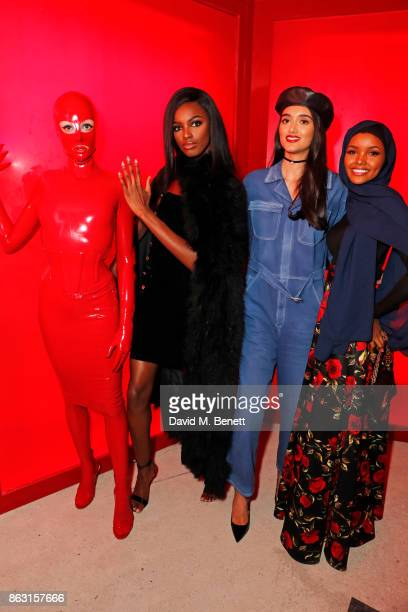 Leomie Anderson Neelam Gill and Halima Aden attend The Veuve Clicquot Widow Series By Carine Roitfeld And CR Studio on October 19 2017 in London...