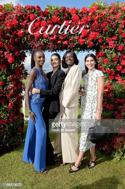 Leomie Anderson, Neelam Gill, Duckie Thot and Saffron Vadher attend Cartier Queen's Cup Polo 2019 on June 16, 2019 in Windsor, England.