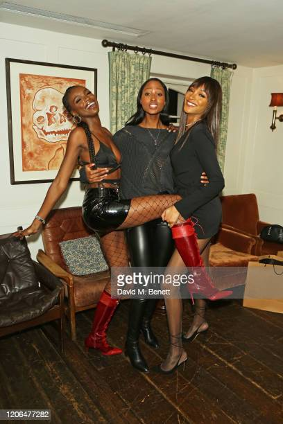 Leomie Anderson Nyasha Matonhodze and Jourdan Dunn attend the #OwnTheTable dinner and panel hosted by Leomie Anderson and Ray BLK at Soho House on...
