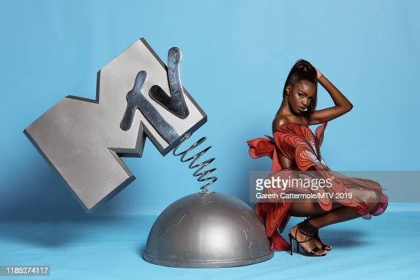 Leomie Anderson poses at the MTV EMAs 2019 studio at FIBES Conference and Exhibition Centre on November 03 2019 in Seville Spain